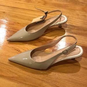 NWT Zara pointy slingback heels light gray Sz 8 39